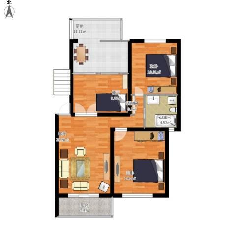田林兰桂坊2室2厅1卫1厨107.00㎡户型图