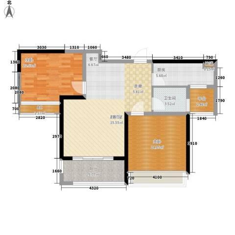 禹洲中央广场2室0厅1卫1厨85.00㎡户型图