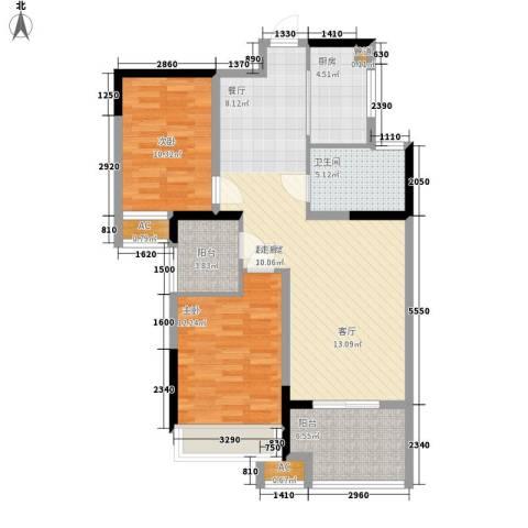 禹洲中央广场2室0厅1卫1厨87.00㎡户型图