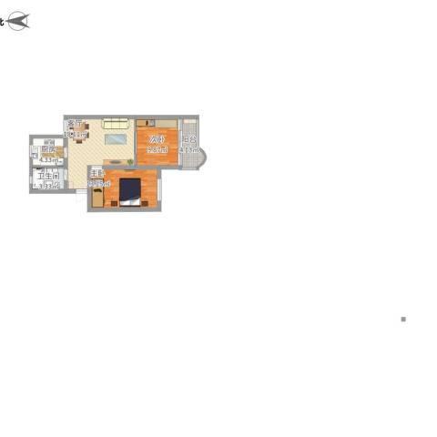 平吉二村2室1厅1卫1厨78.00㎡户型图