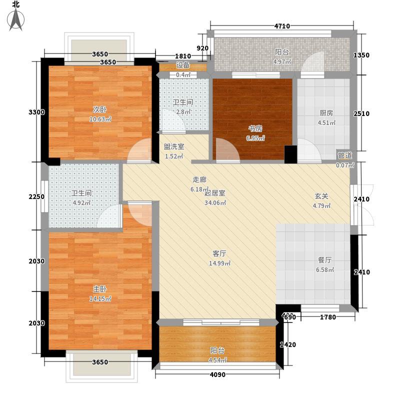 广晟江山帝景116.00㎡江山帝景户型3室2厅