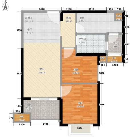 北海恒大名都2室0厅1卫1厨78.00㎡户型图