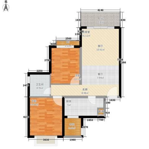 北海恒大名都2室0厅1卫1厨89.00㎡户型图