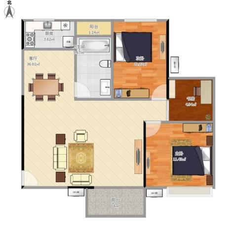 光谷麦郡3室1厅1卫1厨105.00㎡户型图