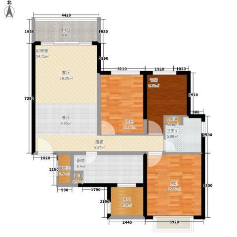北海恒大名都3室0厅1卫1厨110.00㎡户型图