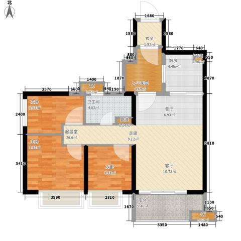 北海恒大名都3室0厅1卫1厨84.00㎡户型图