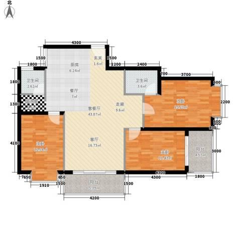 宏鑫锦江国际3室1厅2卫0厨121.00㎡户型图