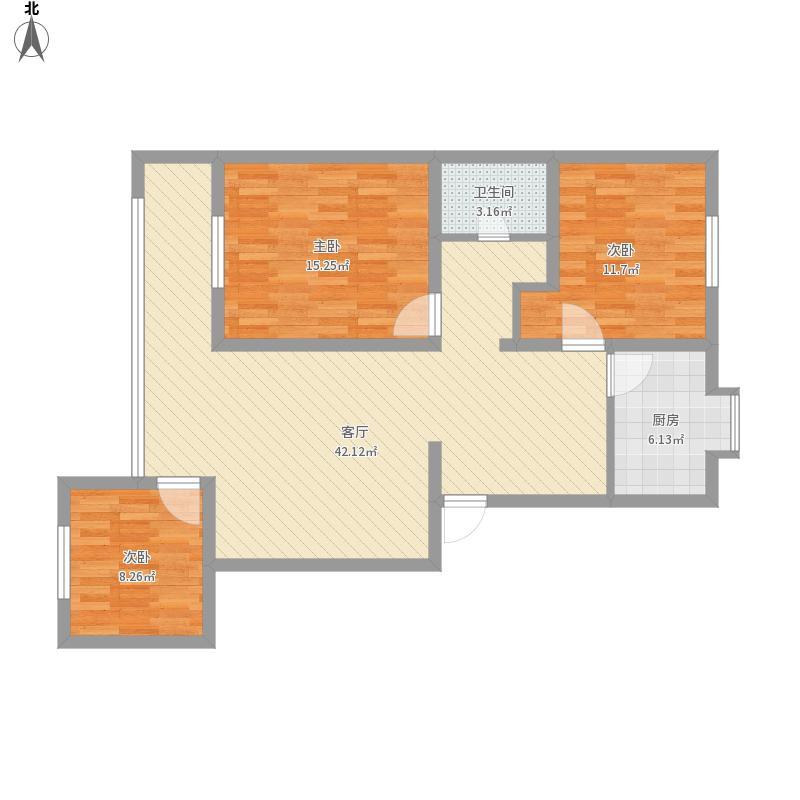 东湖社区112平米三室两厅一卫