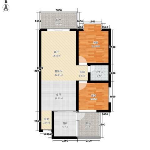 宏鑫锦江国际2室1厅1卫1厨89.00㎡户型图