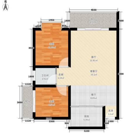 宏鑫锦江国际2室1厅1卫1厨86.00㎡户型图