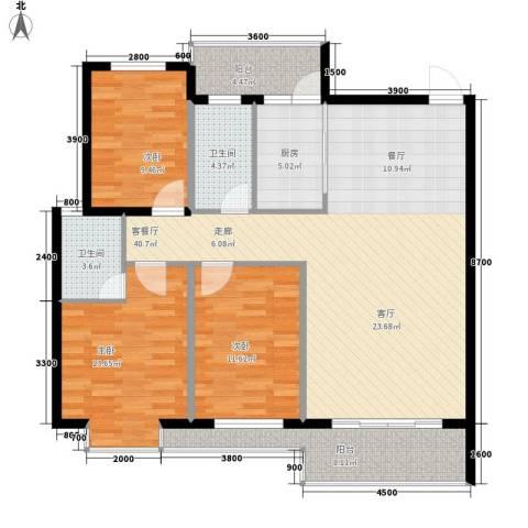 宏鑫锦江国际3室1厅2卫1厨120.00㎡户型图