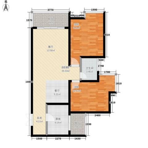 东和春天2室0厅1卫1厨87.00㎡户型图