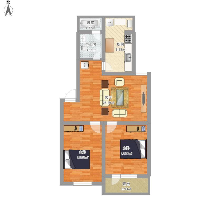 西文雅小区82平两室一厅一卫