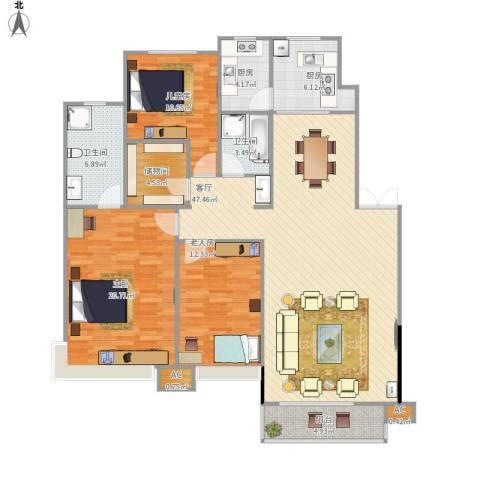 棠棣3室1厅2卫2厨165.00㎡户型图