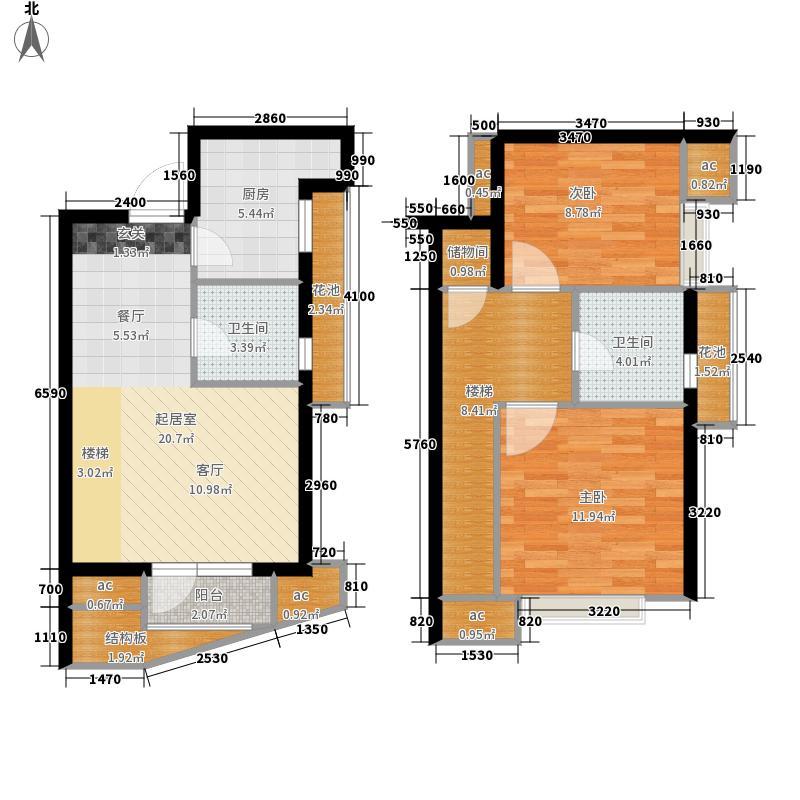 海尔·山海湾88.00㎡建筑面积约为E10户型2室2厅