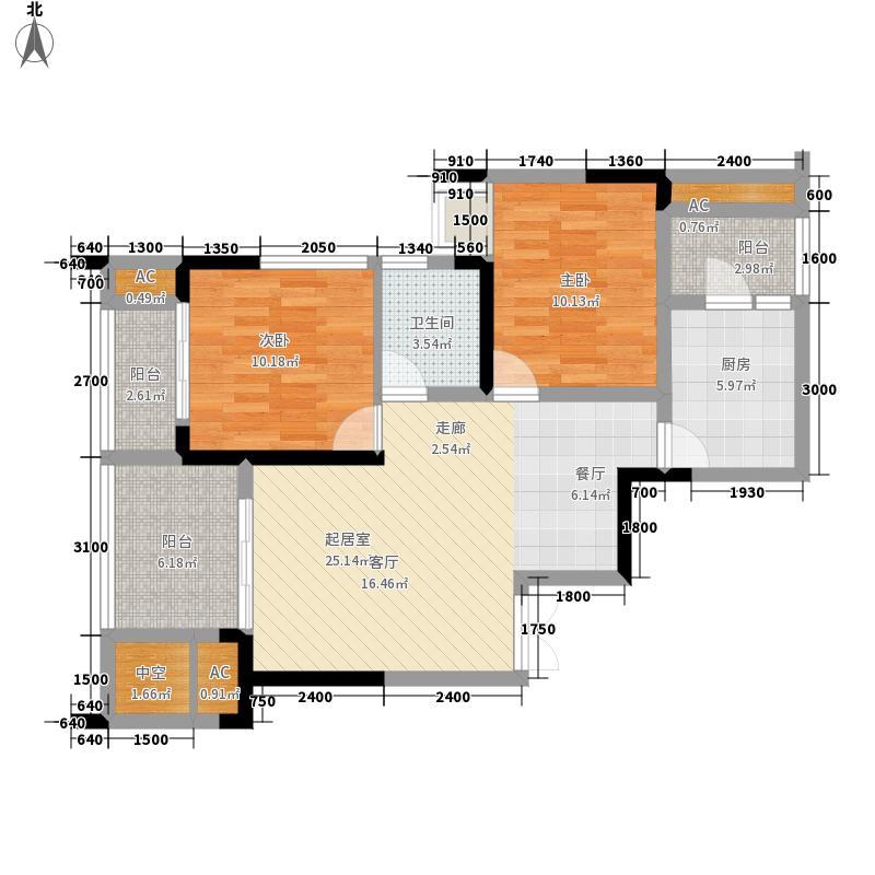融汇温泉城童话里上筑4、5号楼标准层户型2室2厅