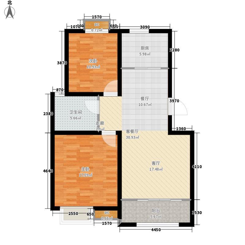 鲁商泰晤士小镇88.00㎡A3户型2室2厅