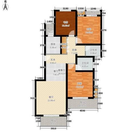 中信泰富朱家角新城3室1厅2卫1厨127.00㎡户型图