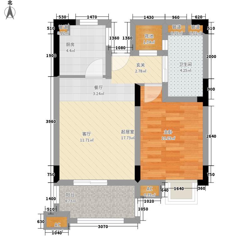 龙憩园中园53.00㎡C2户型1室2厅