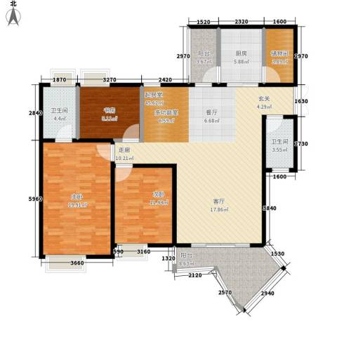 东和春天3室0厅2卫1厨129.00㎡户型图
