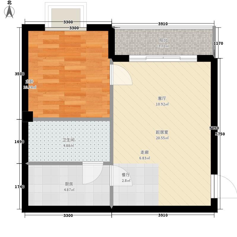 山海湾温泉家园六期56.69㎡山海湾温泉家园一期1#、2#楼A户型1室2厅