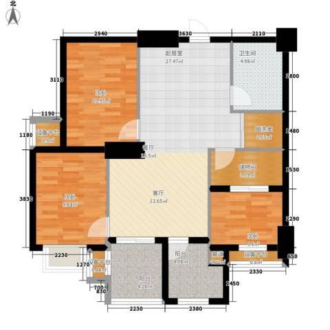 御笔华府3室0厅1卫0厨95.00㎡户型图