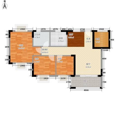 莲花湾畔3室1厅1卫1厨91.00㎡户型图