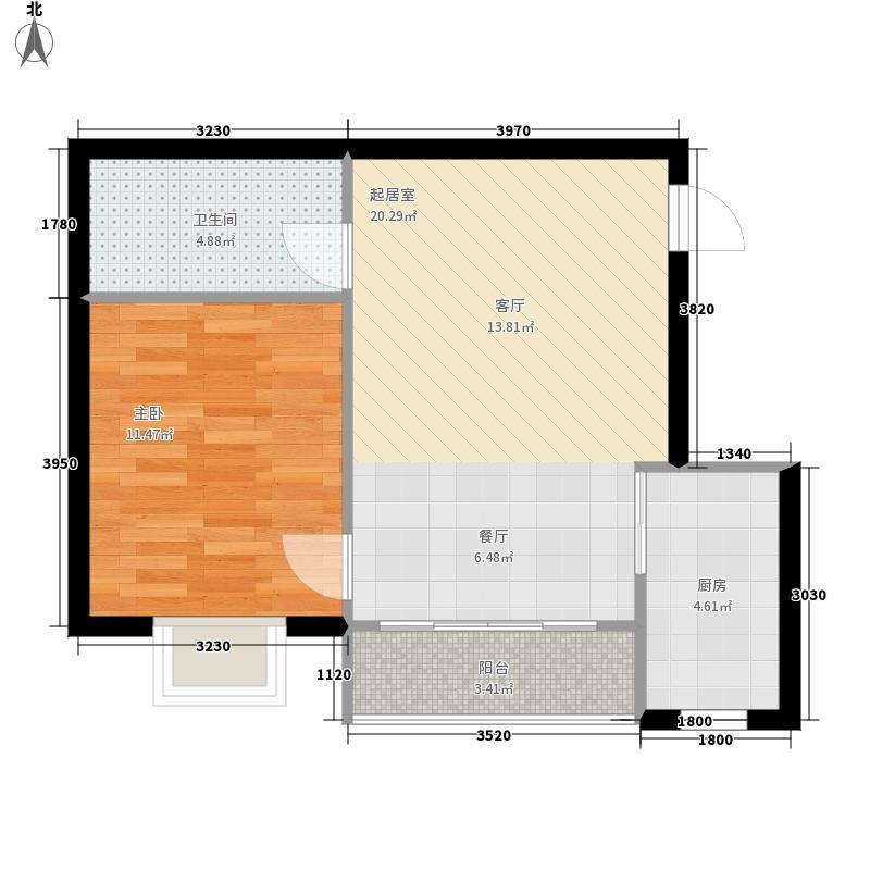 山海湾温泉家园六期57.18㎡山海湾温泉家园一期1#、2#楼B户型1室2厅