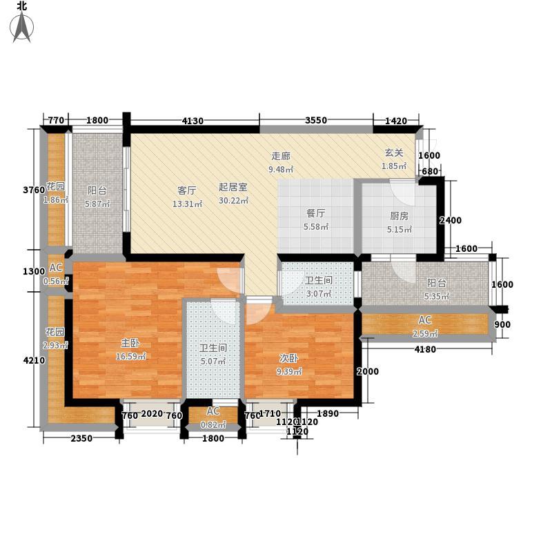 融汇温泉城童话里上筑7号楼标准层5户型2室2厅