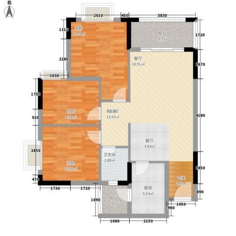 莲花湾畔3室1厅1卫1厨87.00㎡户型图