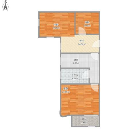 水电路583弄小区2室1厅1卫1厨67.00㎡户型图