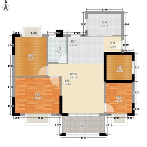 莲花湾畔3室1厅1卫1厨88.00㎡户型图