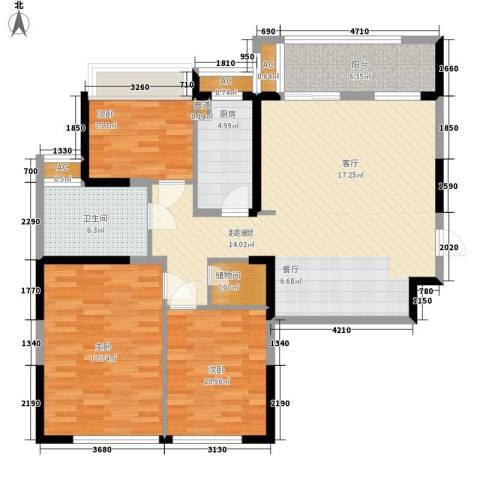 保利星海屿3室0厅1卫1厨109.00㎡户型图