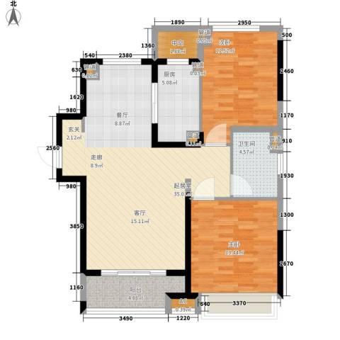 保利星海屿2室0厅1卫1厨90.00㎡户型图