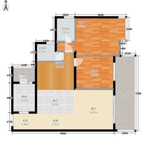 东和春天2室0厅2卫1厨109.00㎡户型图