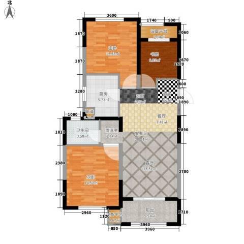 景瑞望府3室1厅1卫1厨95.00㎡户型图