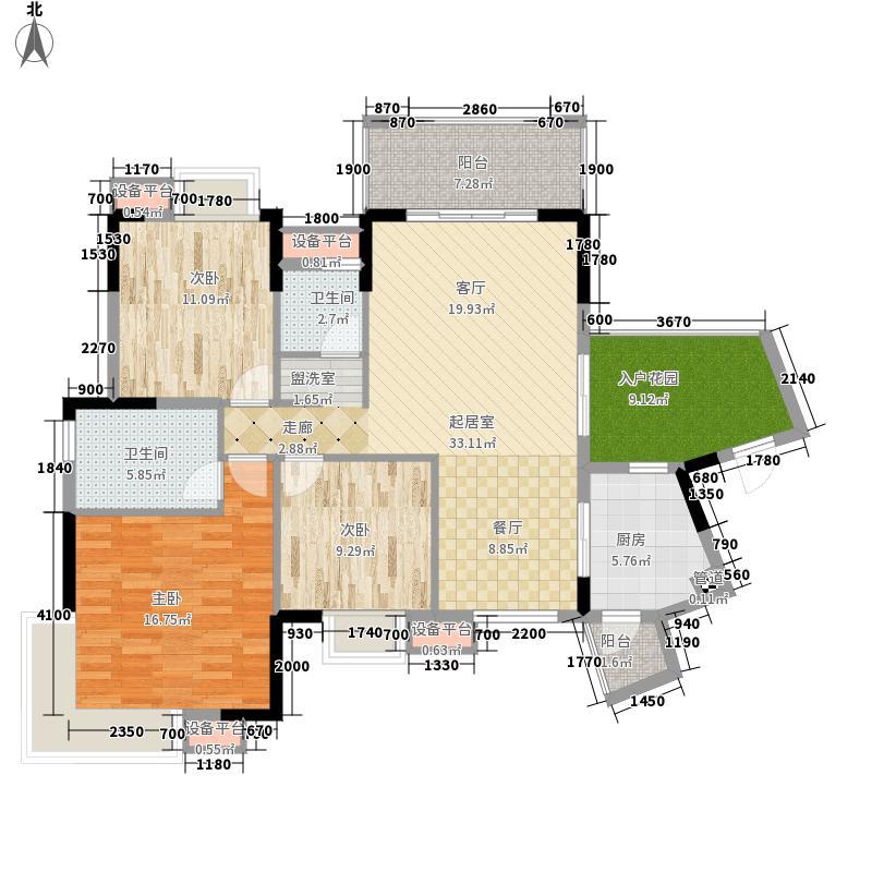 龙光阳光海岸127.00㎡山海湖观邸D6、D7栋3B户型3室2厅