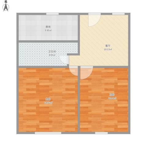 幸福第一公寓2室1厅1卫1厨65.00㎡户型图