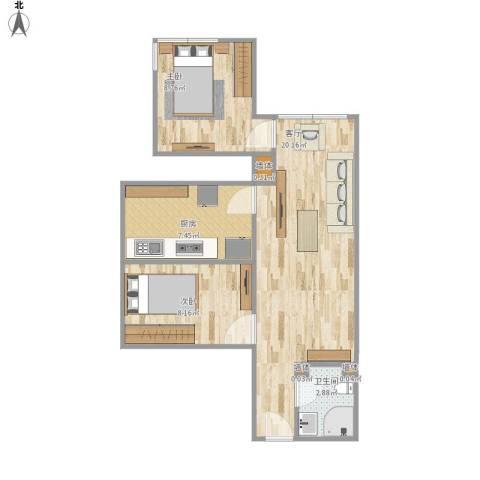宋家庄小区2室1厅1卫1厨65.00㎡户型图