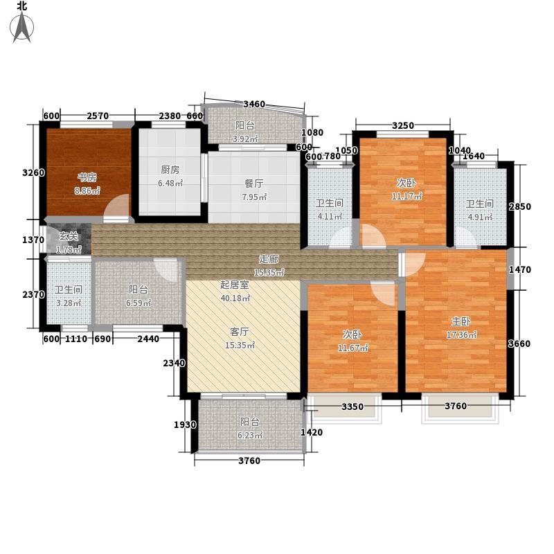 雅居乐铂琅峯142.05㎡B1户型5室2厅