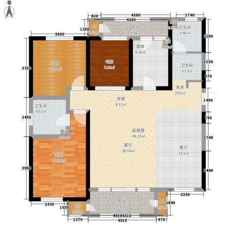 意境兰庭3室0厅2卫1厨148.00㎡户型图