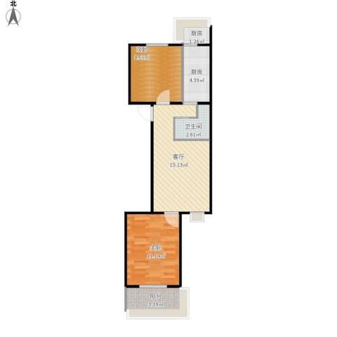 三义庙小区2室1厅1卫2厨64.00㎡户型图