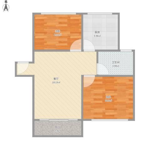 富康花园2室1厅1卫1厨54.30㎡户型图
