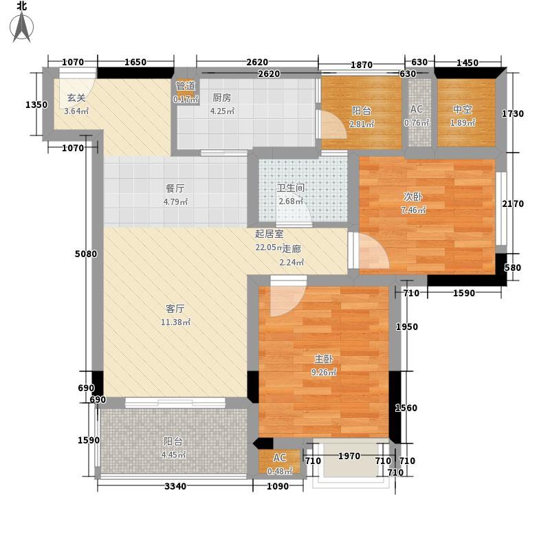 安泰城市理想一期6号楼单卫A户型2室2厅