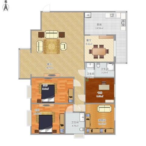 枫林.和平花园3室2厅3卫1厨166.00㎡户型图