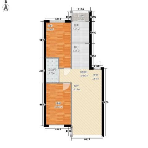 高新锦绣苑2室1厅1卫1厨96.00㎡户型图