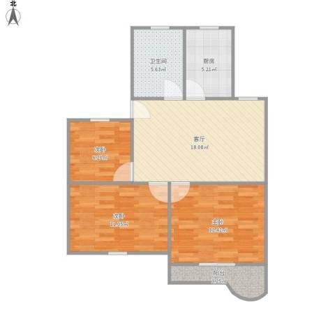 平吉一村3室1厅1卫1厨84.00㎡户型图
