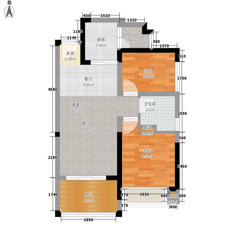 恒大帝景一期20、21号楼2、3号房户型2室2厅