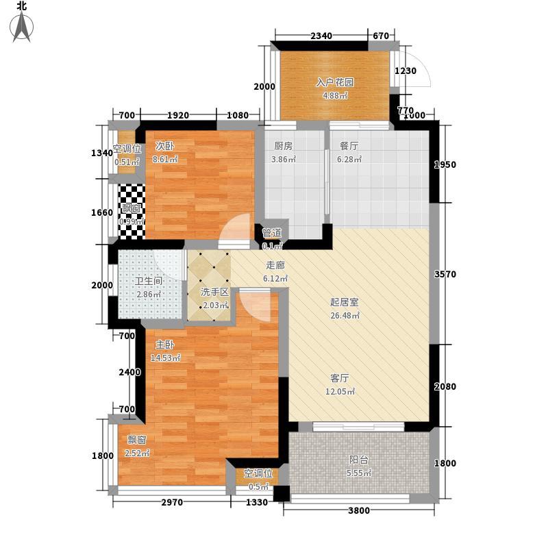 丰源国际80.03㎡B型户型2室2厅