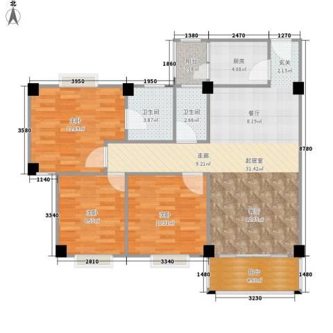 顺景蔷薇山庄4期3室0厅2卫1厨109.00㎡户型图